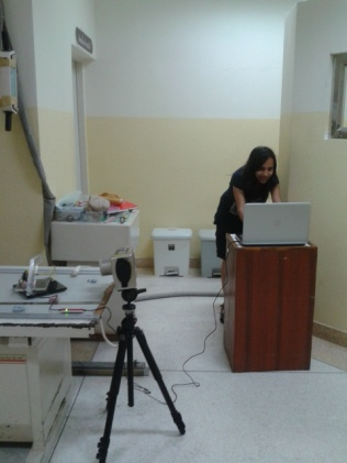 Neha doing her radiographic recording of dental development in Thailand