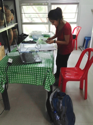 Neha doing her metric bone growth data collection in Thialand